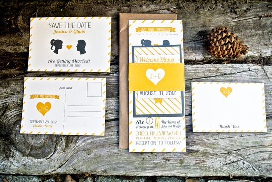 Yellow Gray Ivory Striped Silhouette Wedding Invitations