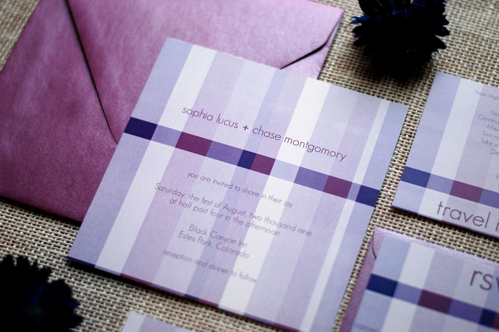 Sweet Stripes Wedding Invitations Purple Modern