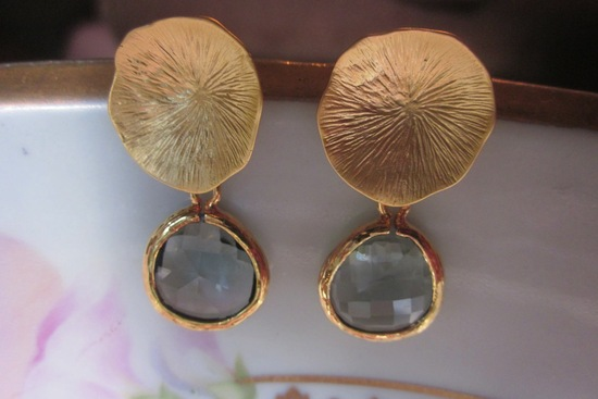 Charcoal Gray and Gold Bridal Earrings