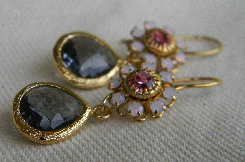 Elegant-bridal-earrings-gold-rose-charcoal.full