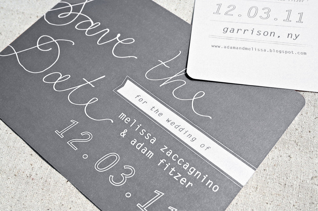 charcoal and white wedding save the date