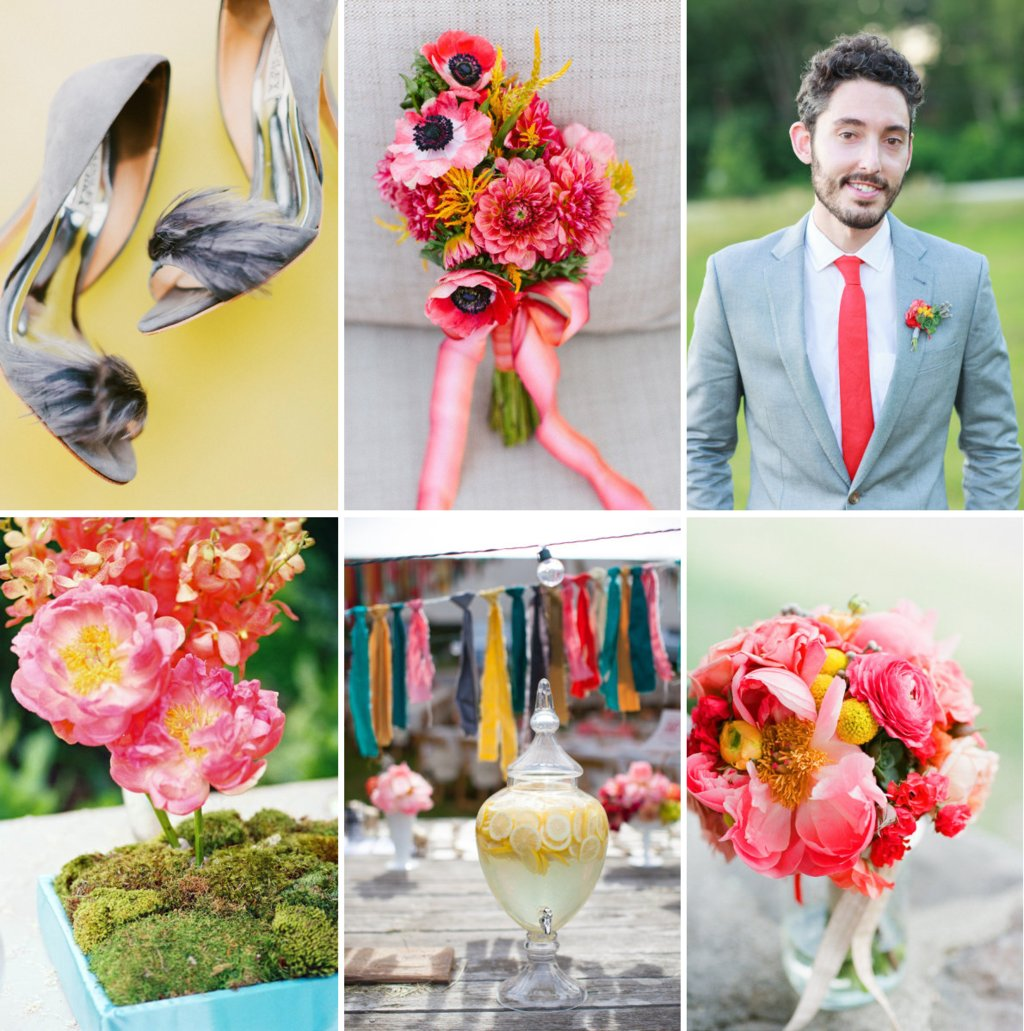 Beautiful Wedding Color Palette: Peony Pink, Bright Coral, Yellow ...