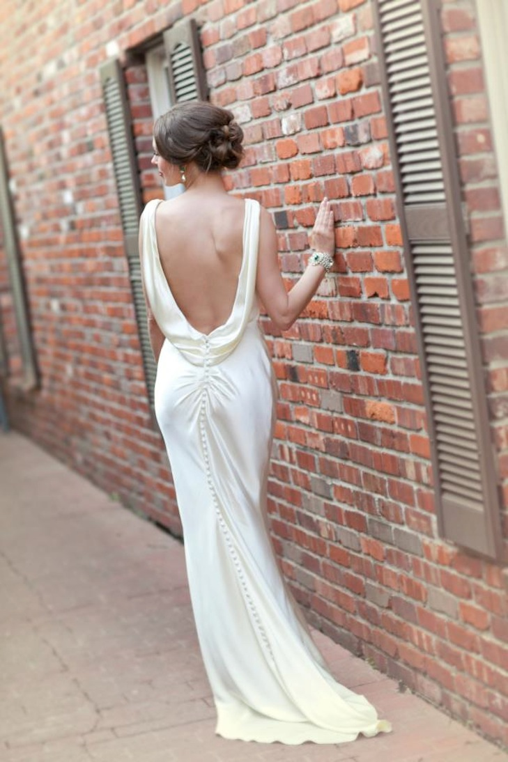 Daring open back wedding dress silk with covered buttons for Low back bras wedding dress