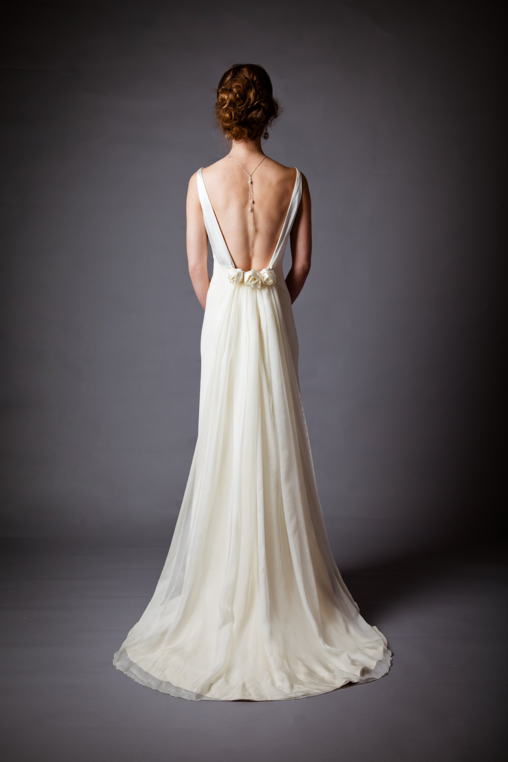 Silk charmeuse open back wedding dress for Wedding dresses with the back open