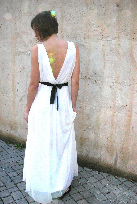 Simple draped white wedding dress with black sash for White wedding dress with black sash