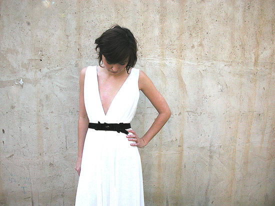simple draped white wedding dress with black sash