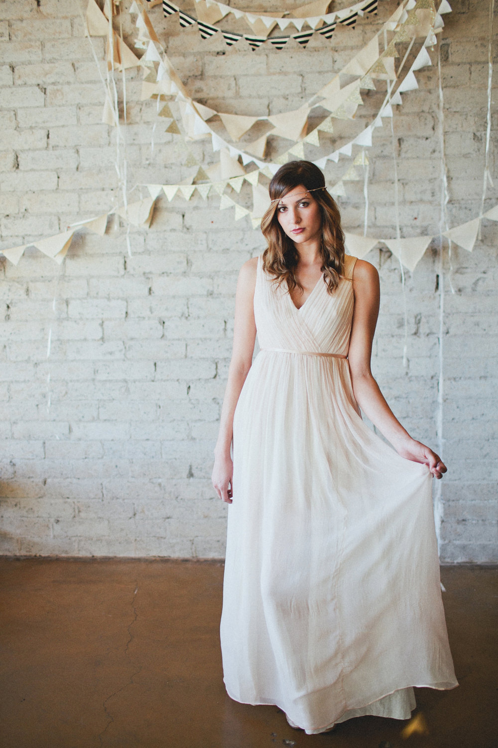 Simple Draped Wedding Dress With Open Back