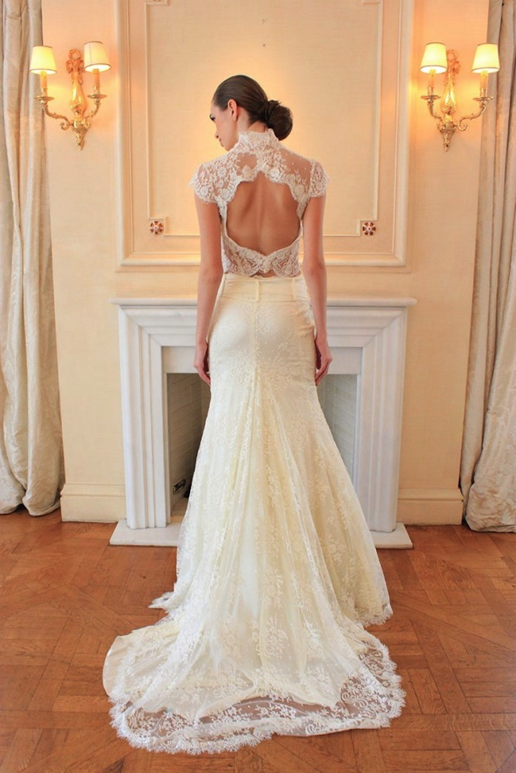 2 piece wedding dress with lace top open back
