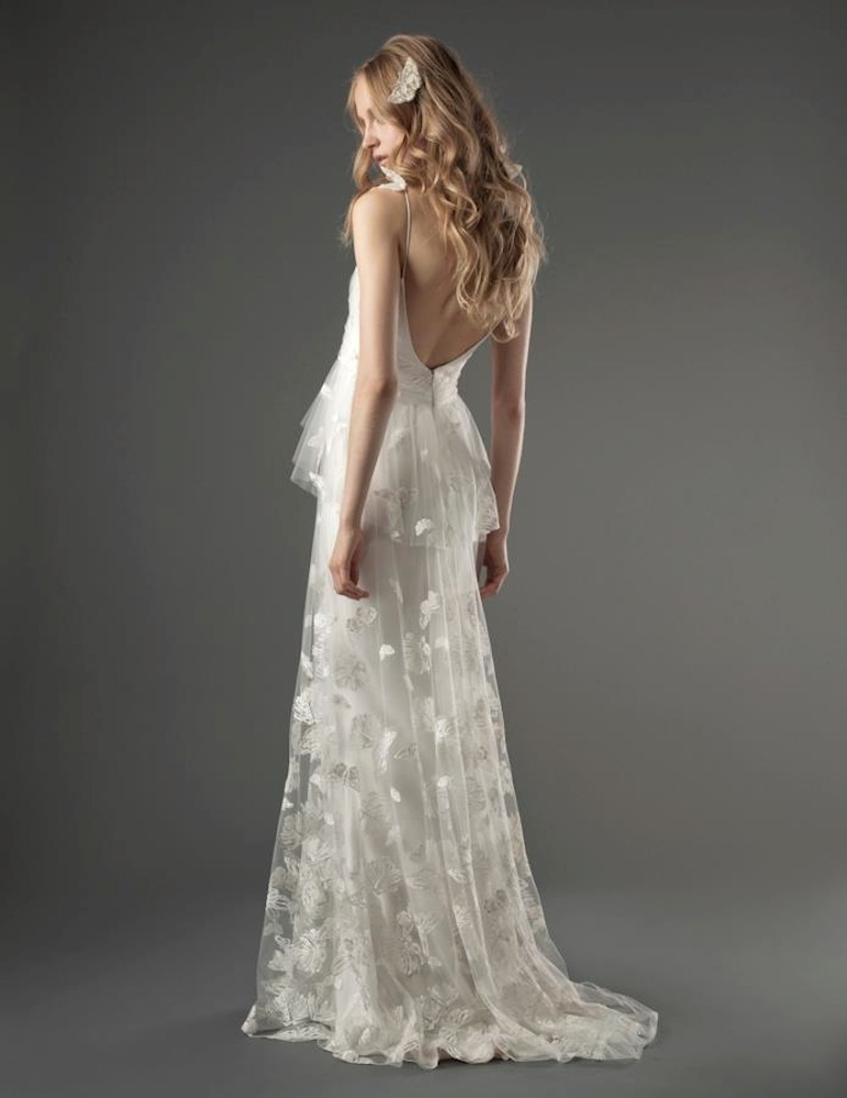 Romantic Low Back Wedding Dress With Unique Lace