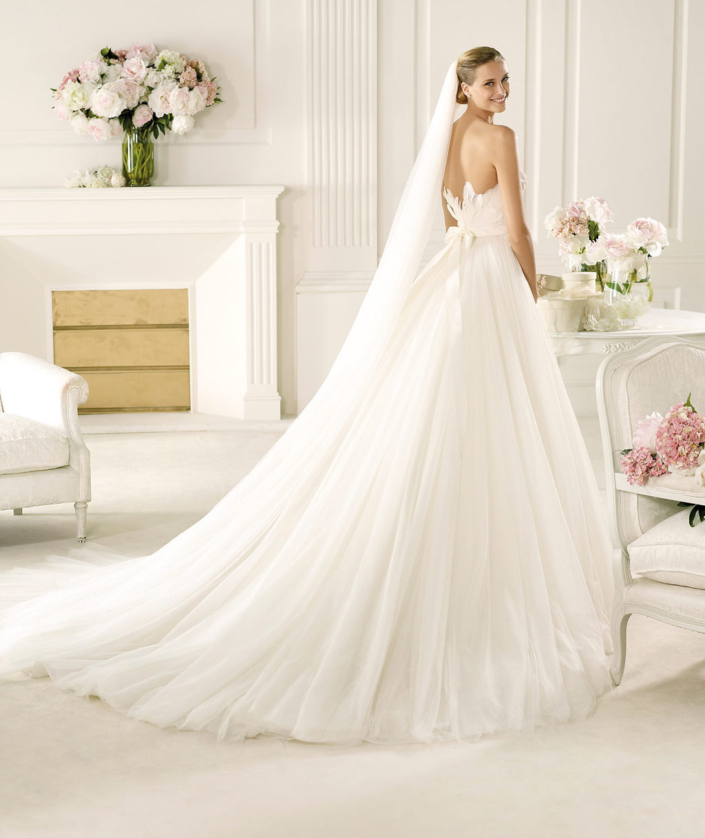 Feather back wedding dress by Pronovias 2013 bridal Primor