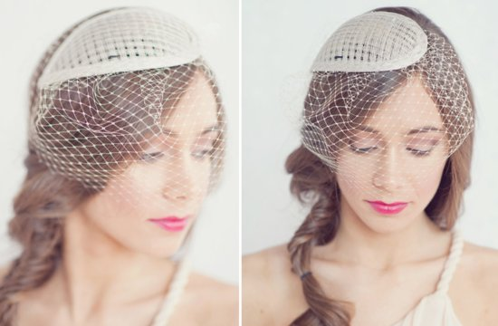 Fancy wedding hats beige with netting 2