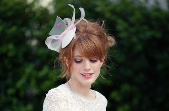 Pink and ivory party hat for wedding guests