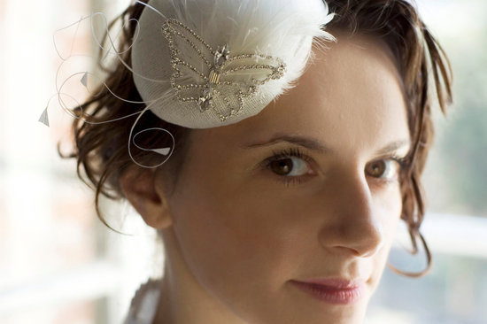 Crystal butterfly embellished mini wedding hat