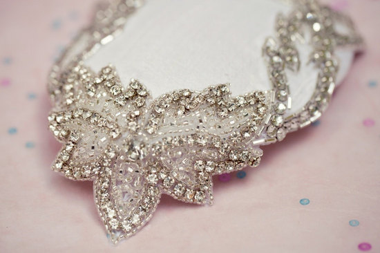 Vintage inspired mini wedding hat with crystals