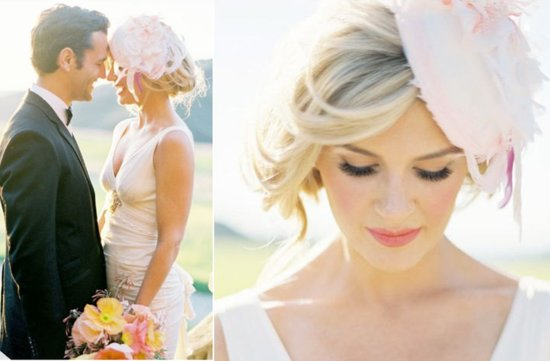 romantic pink feather wedding hat