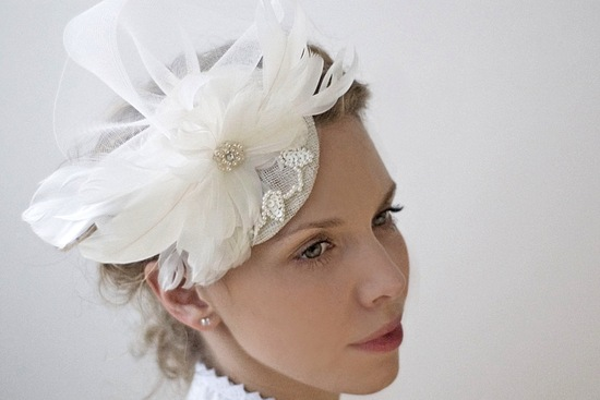 feather embellished wedding hat