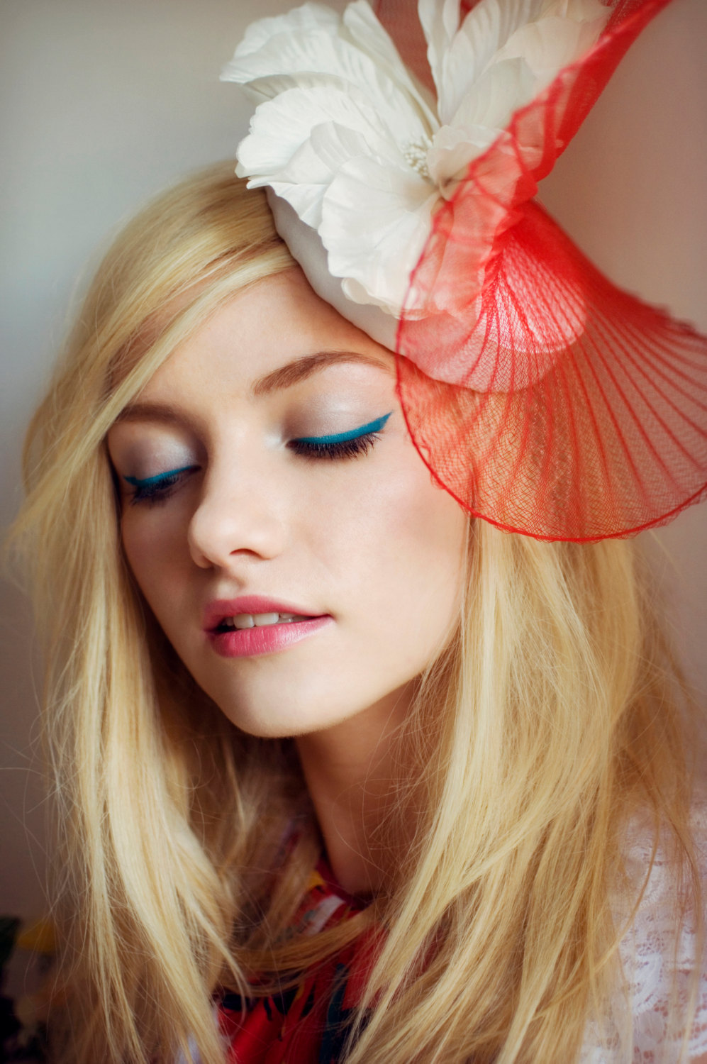 Coral-and-Ivory-Wedding-Hat-for-Bridesmaids-Something-Blue-Liner