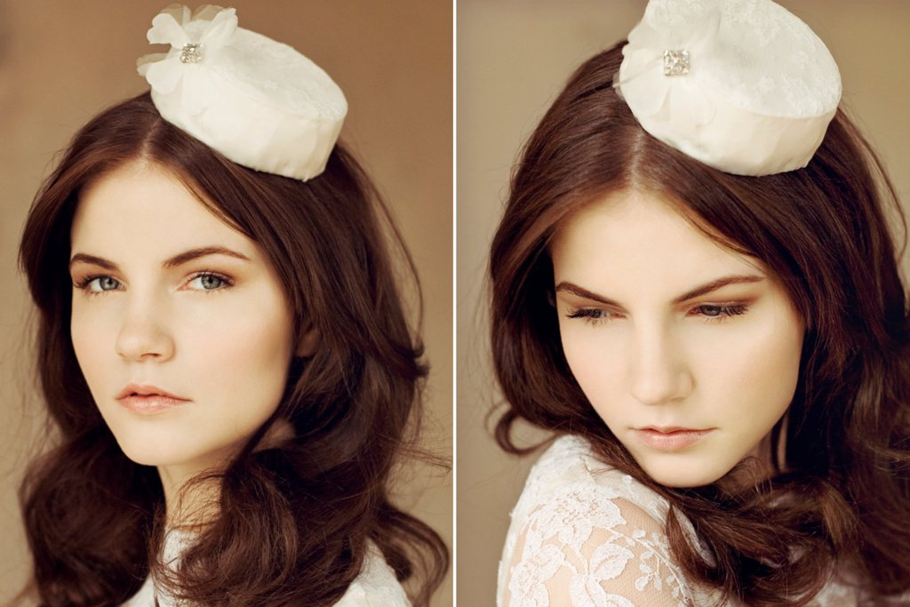 Lace pillbox wedding hat for vintage brides