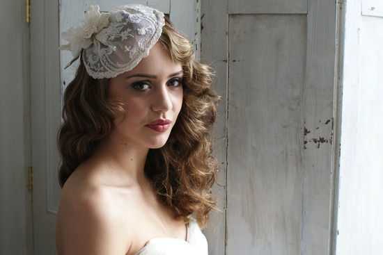 vintage lace bridal hat with flower