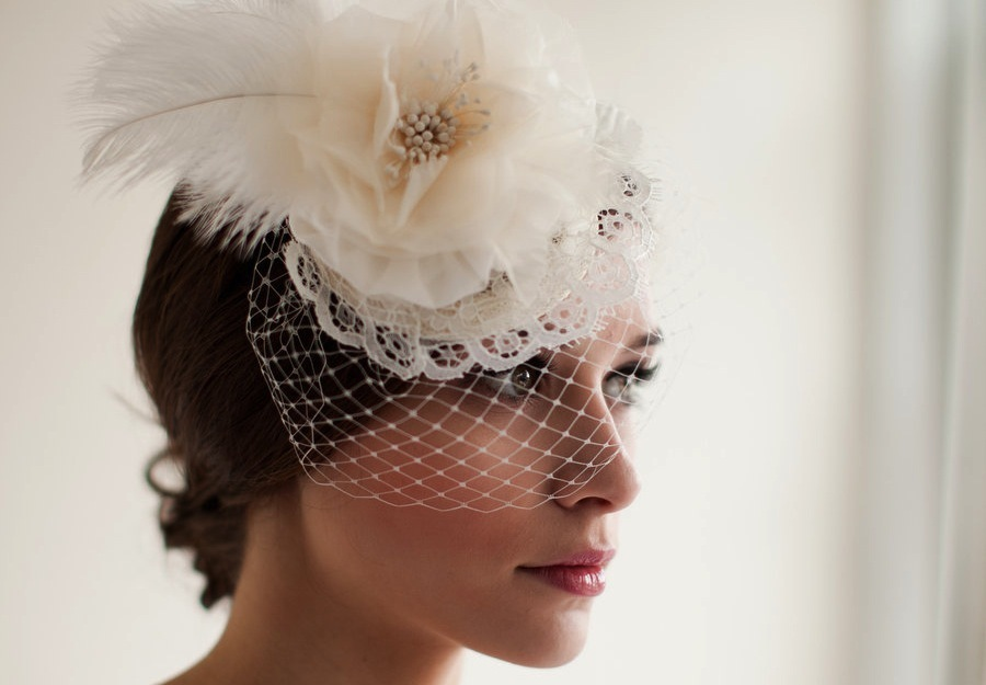 Feather and Lace embellished mini bridal hat