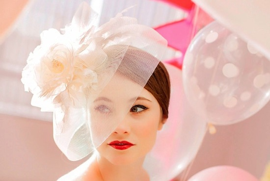 vintage wedding hat in pastel blush