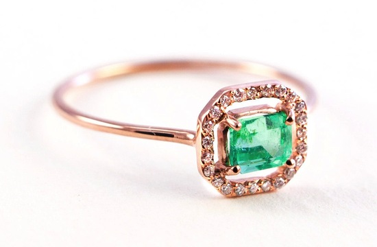 Emerald engagement ring micropave halo