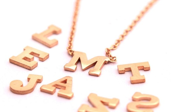 Gold initials necklaces for bridesmaids