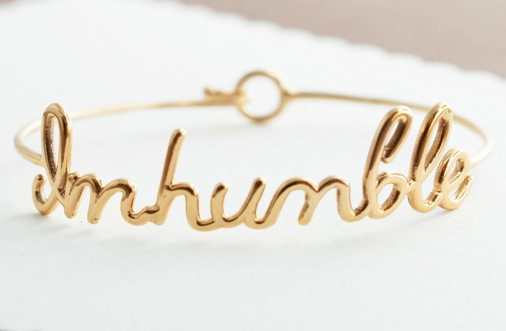 Beautiful gold bracelet personalized with message for the bride