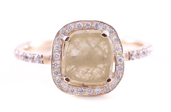 Rough diamond engagement ring yellow stone pave halo