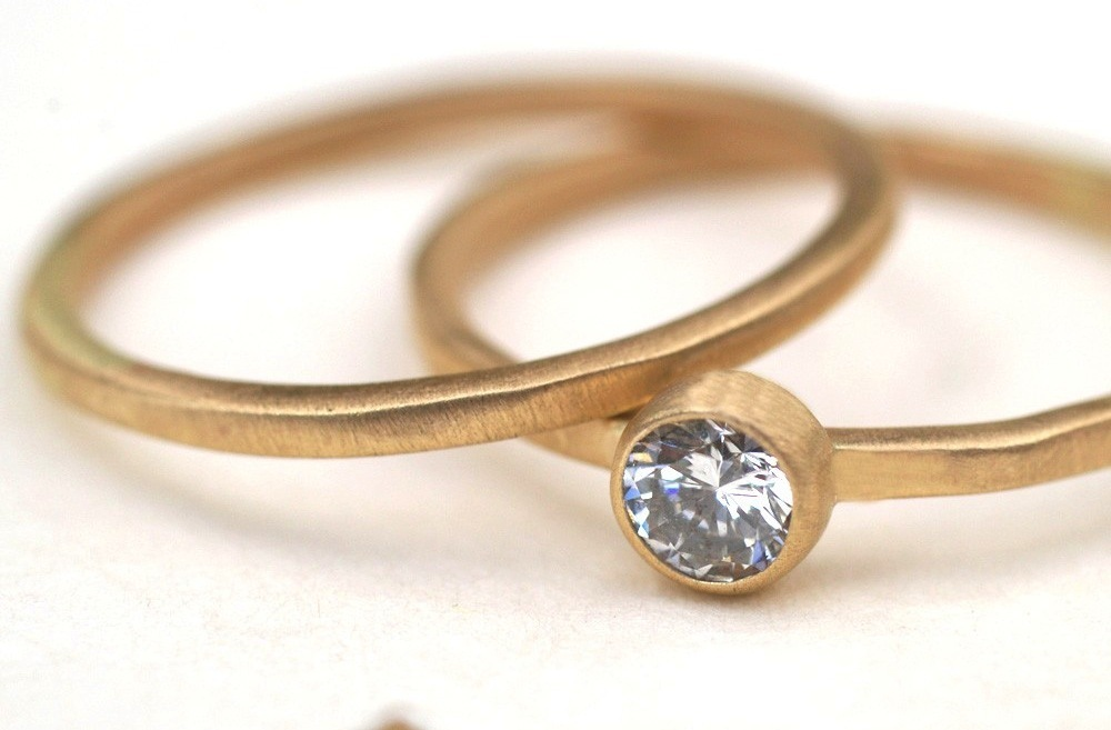 Recycled Gold wedding and engagement ring