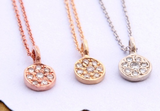 Pave diamond wedding necklaces in rose yellow and white gold