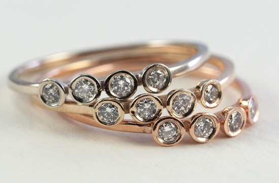 Yellow and Rose Gold diamond wedding bands