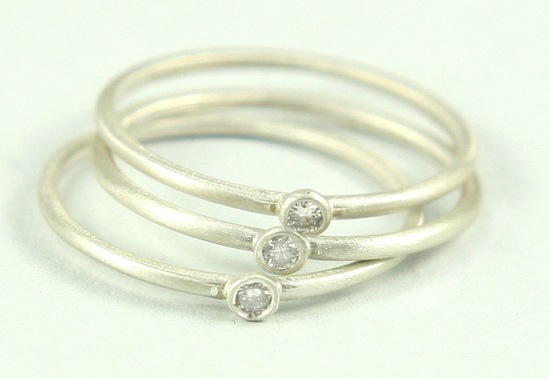 Silver and diamond stackable wedding bands