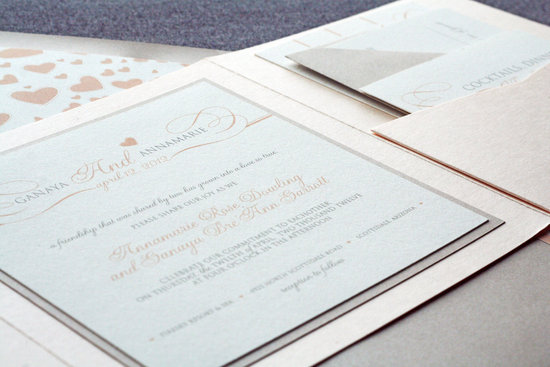 Romantic neutrals with blush wedding invitations