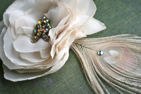 Wedding hair accessories cream and blush fascinator