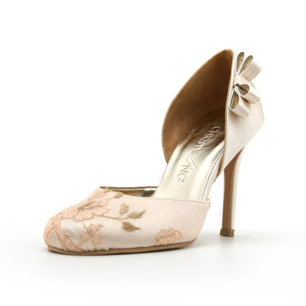 Nude Satin Wedding Shoes Floral Net
