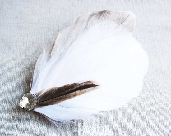 White and Beige Bridal Fascinator Feathers