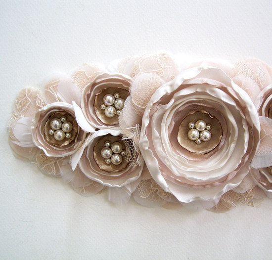Blush and beige bridal sash
