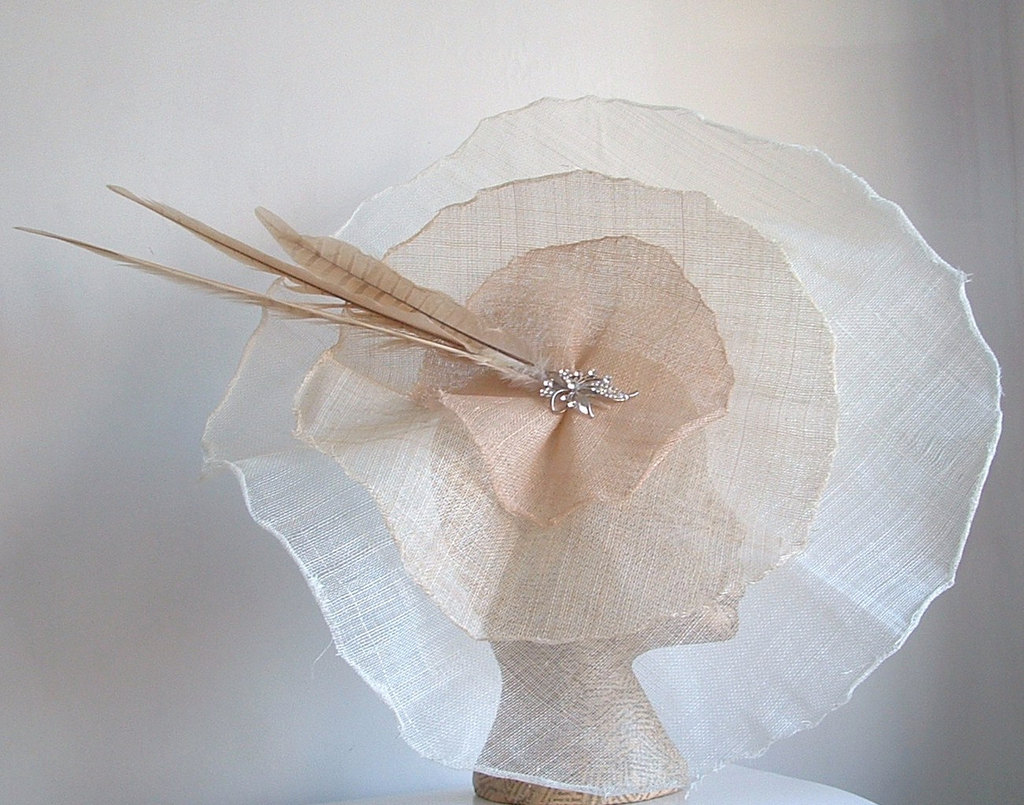haute couture wedding hat beige white