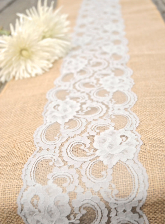 Romantic Reception Table Linens Lace over Burlap