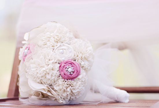 Handmade alternative wedding bouquet ivory pearl pink