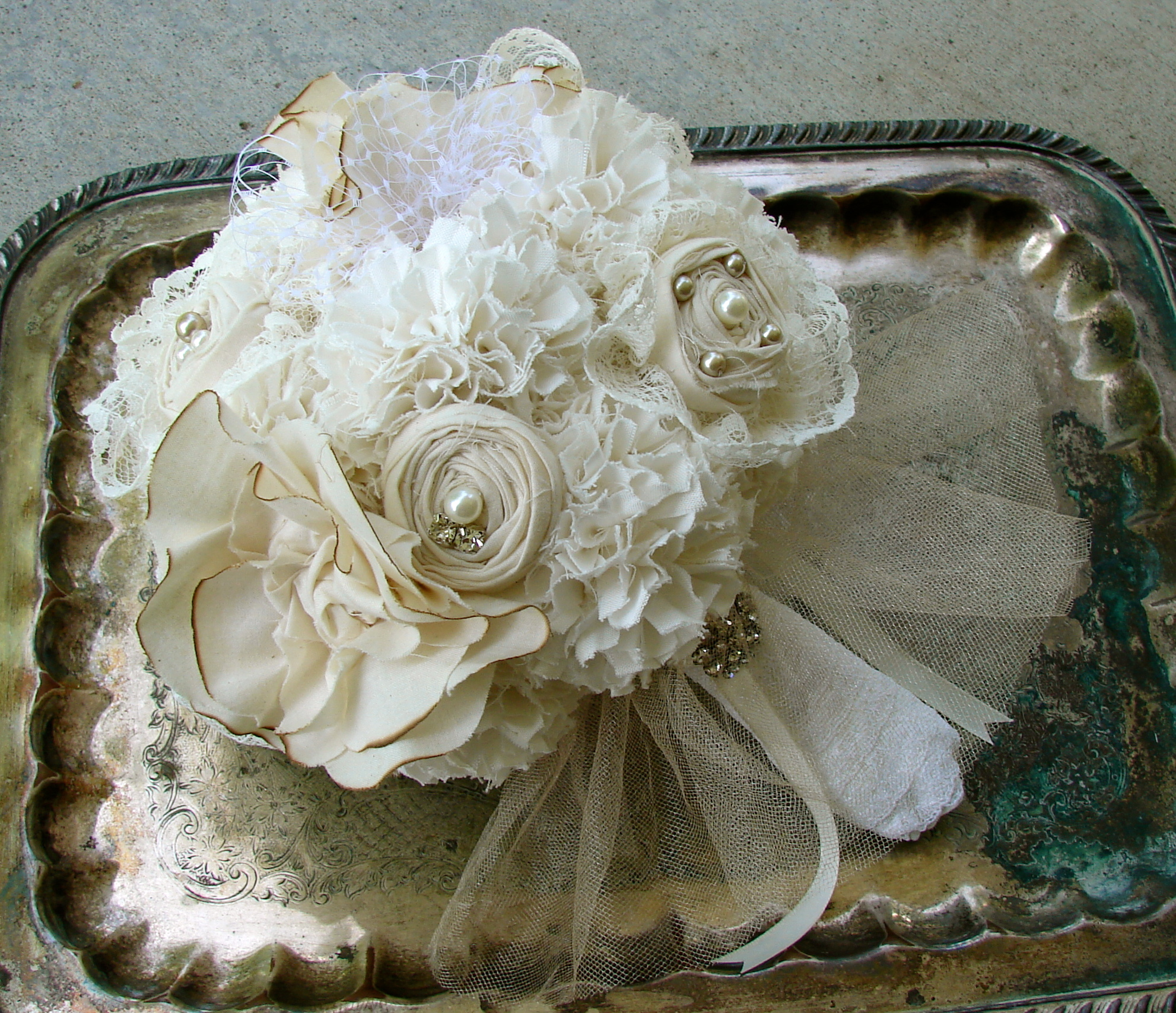 ivory fabric flowers romantic vintage bridal bouquet. Black Bedroom Furniture Sets. Home Design Ideas