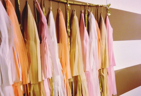 Fringe wedding decor pastel pink yellow peach gold