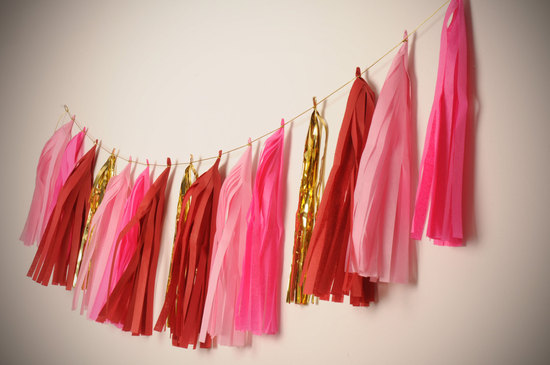 Fringe wedding reception decor red pink gold