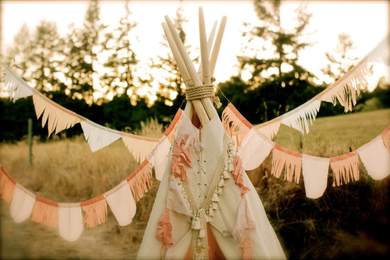 Overlapping fringe wedding garland peach cream