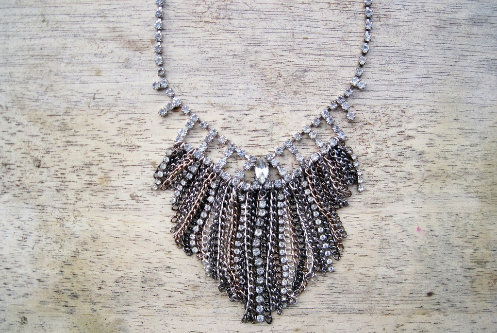 Fringe silver crystal statement wedding necklace