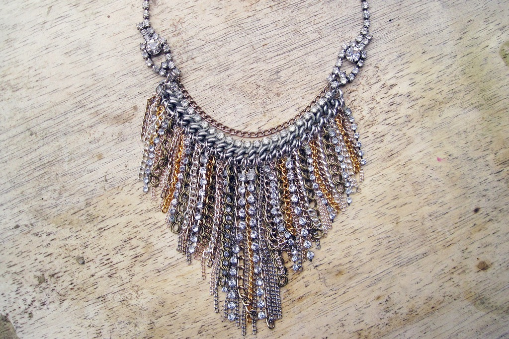 Silver gold rhinestone statement wedding necklace fringe