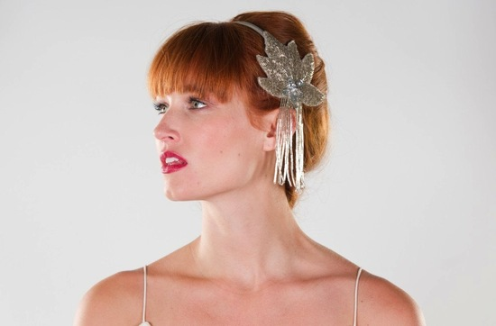 Vintage inspired bridal headband with fringe