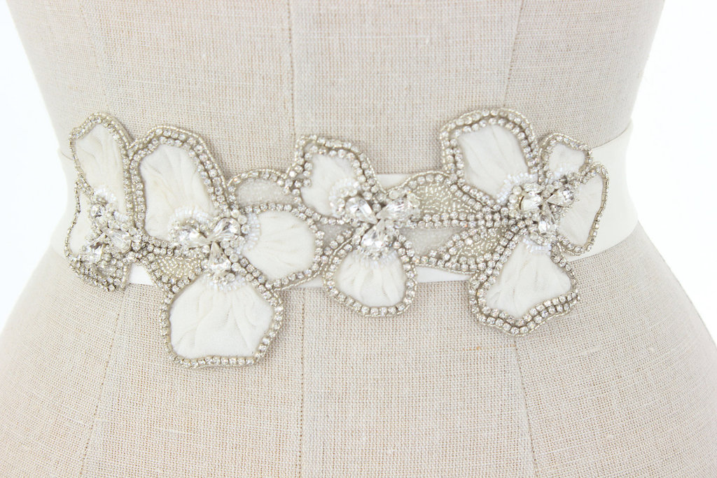 Ivory floral bridal belt with art deco beading