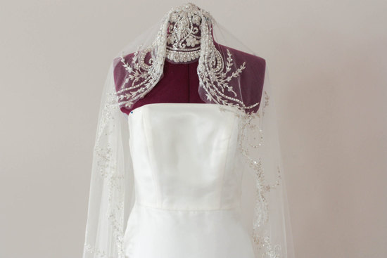 Beaded bridal veil art deco inspired